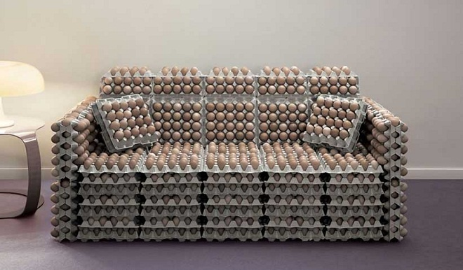 Sofa made with eggs